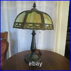 Antique Arts & Crafts Art Nouveau Slag Glass Lamp Early 20th Century Green Glass