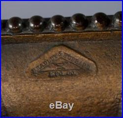 Antique Arts & Crafts BRADELY & HUBBARD Brass 8-Panel Slag Glass Table Lamp NR