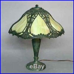 Antique Arts & Crafts Bradley & Hubbard School Slag Glass Panel Lamp, circa 1910