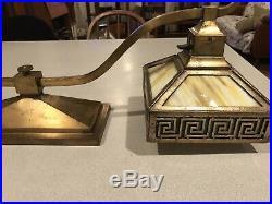 Antique Arts Crafts Bradley Hubbard Slag Glass Desk Piano Lamp Light Greek Key