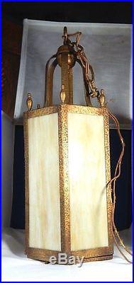 Antique Arts & Crafts Gilt Metal Slag Glass Hexagonal Pendant Lamp Chandelier