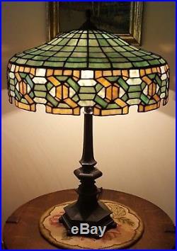 Elegant Antique Arts U0026 Crafts Gorham Geometric Leaded Slag Stained Glass Table Lamp
