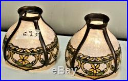 Antique Arts & Crafts John Morgan Slag Glass Reverse Painted Shades 1 Pair