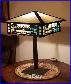 Antique Arts & Crafts Leaded Slag Stained Glass Table Lamp Stickley Limbert