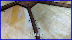 Antique Arts & Crafts Mission Era 6 Panel Caramel Slag Glass Oak Table Lamp