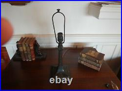 Antique Arts & Crafts Nouveau Miller 8 Panel Slag Glass Lamp