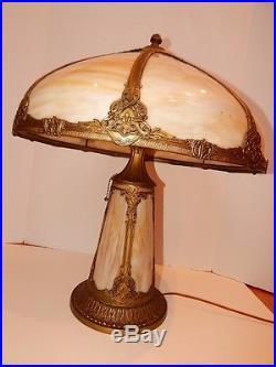 Antique Arts Crafts Slag Gl Lamp Lighted Base 8 Panel Caramel Swirl Large