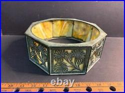 Antique Arts & Crafts Slag Glass Lamp Shade or Base, Tiffany Desk Set Style