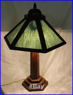 Antique Arts & Crafts Slag Glass Mission Style Electric Lamp 6 Sections