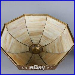 Antique Arts & Crafts Slag Glass Panel Lamp with Filigree Shade, 20th Century
