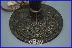 Antique Arts & Crafts Slag Glass Panel Signed Bradley & Hubbard Lamp & Shade
