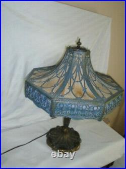 Antique Arts & Crafts Slag Glass Table Lamp, circa 1920