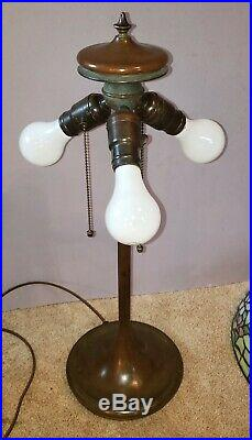 Antique Arts & Crafts Unique Apple Blossom Leaded Slag Stained Glass Table Lamp