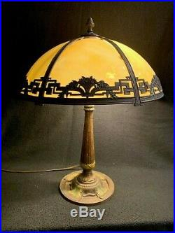 Antique Arts and Crafts/Art Nouvea Daisies Design Rainaud Signe Slag Glass LAMP