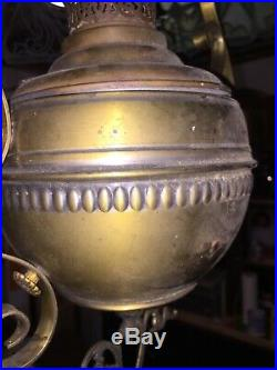 Antique Arts and Crafts, Art Nouveau, Art Deco HANGING SLAG GLASS Oil LAMP