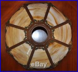 Antique Arts and Crafts Oak Leaf Rainaud A&R Lamp Slag Glass Lamp Art Nouveau