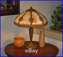 Antique Arts and Crafts Rainaud Slag glass Lamp Art Nouveau