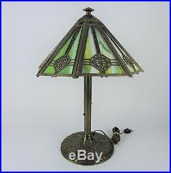 Antique BRADLEY & HUBBARD Leaded Slag Glass Table/Desk Lamp (Circa 1900-1910)