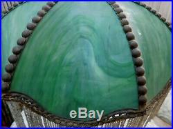 Antique B & H BRADLEY HUBBARD Table Lamp Green Slag Glass Shade Beaded Fringe