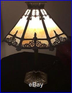 Antique B&h Style Slag Glass Metal Overlay Lamp
