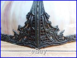 Antique Bent Panel Slag Glass 8 Panel Large 19 Filigree Table Lamp Shade Nice