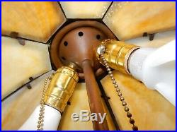 Antique Bent Slag Glass 8 Panel Lamp Shade, Bradley & Hubbard Miller Handel