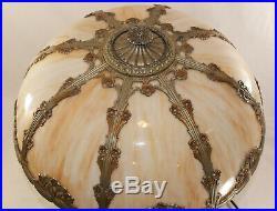 Antique Bent Slag Glass Lamp, Large 24x19