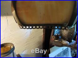 Antique Bent Slag Glass Lamp Shade Arts Crafts Nouveau