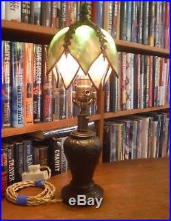 Antique Bent Slag Leaded Glass Handel Boudoir Lamp Miller Bradley Hubbard styles
