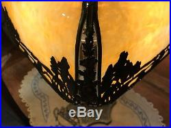 Antique Bent Slag Table Lamp Art Nouveau all. Original