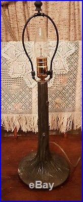 Antique Blue & Pink Slag Glass Cast Iron Lamp