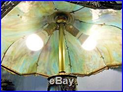 Antique Blue Purple Slag Glass Light House Lamp Top Bottom Lights Up 11 Panel