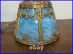 Antique Blue Slag Glass Panel Chandelier Porch Lamp Light Hanging Victorian Smal