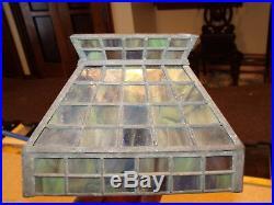 Antique Bradley & Hubbard Arts And Crafts Kerosene Student Lamp Slag Glass Shade