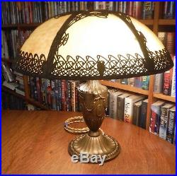 Antique Bradley & Hubbard Bent Slag Glass Lamp Miller Empire Handel Styles