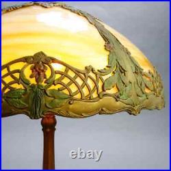 Antique Bradley & Hubbard School Arts & Crafts Polychromed Slag Glass Table Lamp