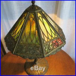 Antique Bradley & Hubbard Slag Glass Lamp Signed B&H 1908 Pat Date Arts & Crafts