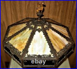 Antique Bradley Hubbard Style Arts Crafts Slag Glass Mission Lamp