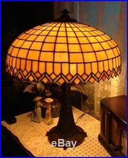 Antique Bradley & Hubbard leaded glass lamp Handel Tiffany arts crafts slag era