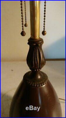 Antique Bradley and Hubbard 3 socket Acorn lamp base for slag or leaded glass