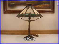 Antique Bradley and Hubbard B&H Art Nouveau Slag Glass Lamp