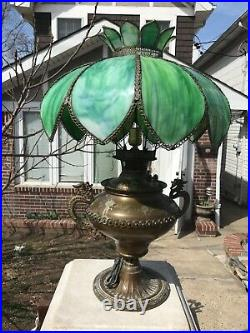 Antique Bradley and Hubbard oil lamp with slag glass shade