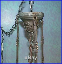 Antique Brass Pink/Purple Slag Glass Electric Hanging Swag Lamp