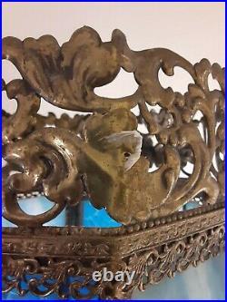 Antique Brass blue glass Table lamp, 29 tall, Slag Pebble Glass