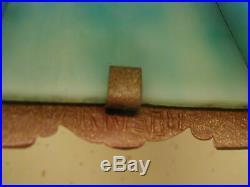 Antique Bronze 6 Panel Blue Slag Glass Table Lampsigned Harrison