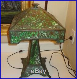 Antique Bronze Arts & Crafts Era Mission Slag Glass Grapevine Lamp PICKUP ONLY