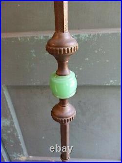 Antique Bronze Slag Glass Jadeite Floor Lamp Art Deco Design Working Mint