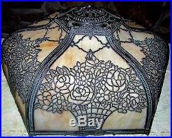 Antique Caramel Bent Slag Glass Lamp Shade 6 Panel Ornate Flower Basket Filigree