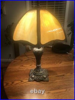 Antique Carmel Slag Glass Lamp