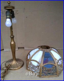 Antique Cast Iron 1900's Slag Glass 8-panel Table Lamp As-is 1900's
